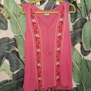 Old Navy Pink Crinkle Embroidered Peasant Top